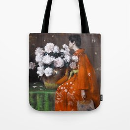 The Spring Flower by William Merritt Chase - Vintage Victorian Retro Fine Art Oil Painting Tote Bag