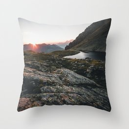 Sunset in the austrian Alps - Greifenberg Mountain Throw Pillow