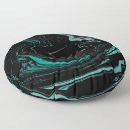 Pink Teal and Black Abstract Art, Digital Fluid Artwork Floor Pillow