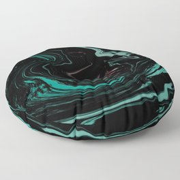 Pink, Teal, Turquoise and Black Abstract Art, Digital Fluid Art Blend Floor Pillow