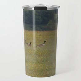 Canadian Geese in an English Meadow Travel Mug