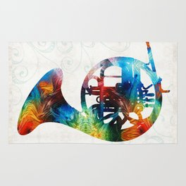 Colorful French Horn - Color Fusion By Sharon Cummings Rug