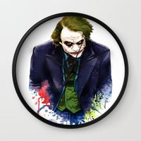 joker Wall Clocks featuring Joker by Lyre Aloise