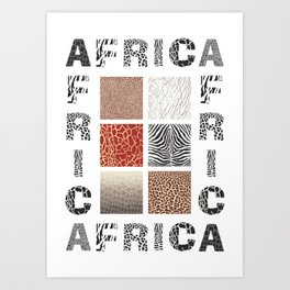 Africa - background with text and texture wild animal Art Print