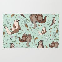 otters Area & Throw Rugs featuring Sea Otters by Nemki