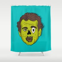 murray Shower Curtains featuring ZomBill Murray by Chelsea Herrick