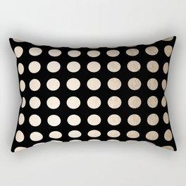 White Gold Sands Polka Dots on Midnight Black Rectangular Pillow