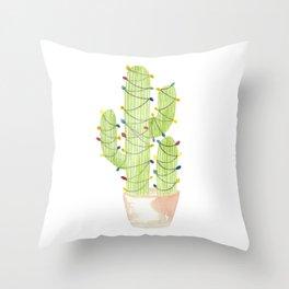 cactus christmas tree Throw Pillow