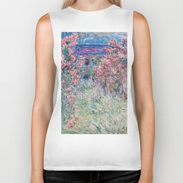 The House among the Roses by Claude Monet Biker Tank