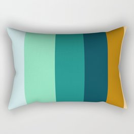 Teal Turquoise and Suede Geometric Pattern Rectangular Pillow