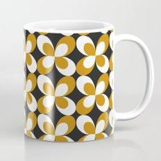 Golden black white retro floral Mug
