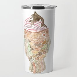 Watercolor Taiyaki Ice Cream Fish Travel Mug