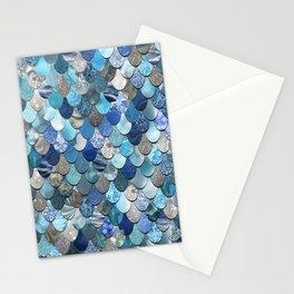 Mermaid Art, Ocean Blue Pattern Stationery Cards