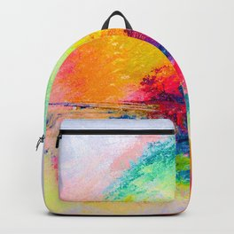 Colorful Bright Abstracted Landscape Painting. Version 2 - Bright Neon Backpack