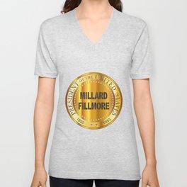 Millard Fillmore Gold Metal Stamp Unisex V-Neck
