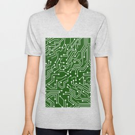 Green Motherboard Geek Decor Unisex V-Neck