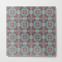 Aqua Turquoise Coral Red Brown Mosaic Pattern Metal Print