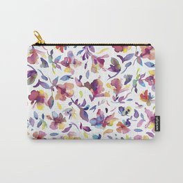 watery hibiscus flowers - Multicolored tropical pattern Carry-All Pouch