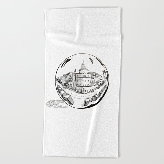 City in a glass ball Beach Towel