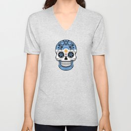 Sugar Skull with Roses and Flag of Argentina Unisex V-Neck