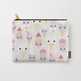 Cute kawaii summer Japanese ice cream cones and popsicle p Carry-All Pouch
