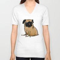 pug V-neck T-shirts featuring Pug by Sandra Rivas
