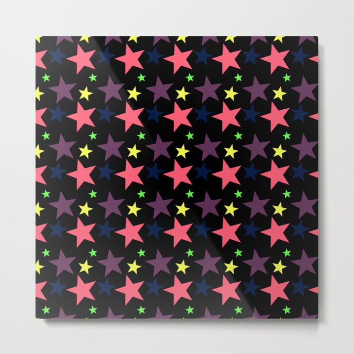 Happy Stars on Black Metal Print