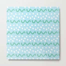 White Dots And Wavy Lines Metal Print