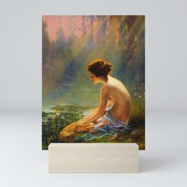 Classical Masterpiece 'Seated Nude by Lily Pond' by Louis Comfort Tiffany Mini Art Print