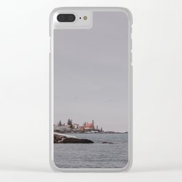 Lighthouse Winter Waterfront on Lake Superior Clear iPhone Case