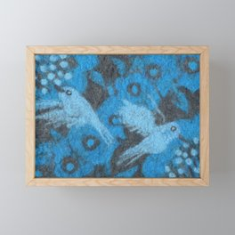 The Hummingbirds, Birds in Flower Garden, Wool Painting, Fiber Texture Framed Mini Art Print