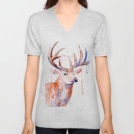 Deer Art Watercolor painting Unisex V-Neck