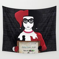 harley quinn Wall Tapestries featuring Harley Quinn by freefallflow