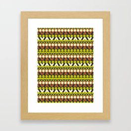 Geometric stripes in brown and neon green Framed Art Print