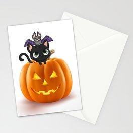 Cute Halloween Cat On Halloween Pumpkins Stationery Cards