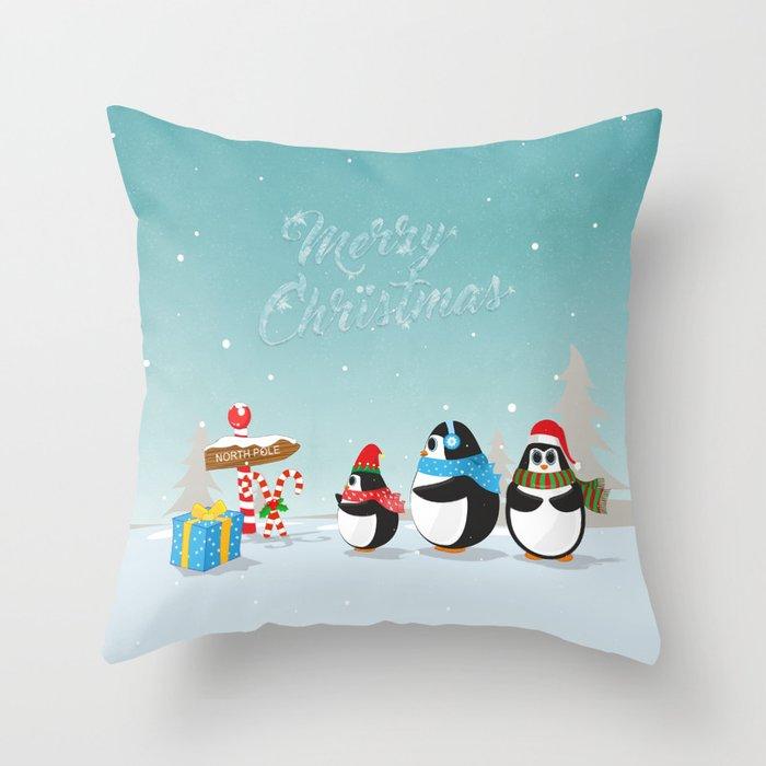 Christmas Penguins Throw Pillow