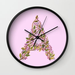 Leafy Letter A Wall Clock