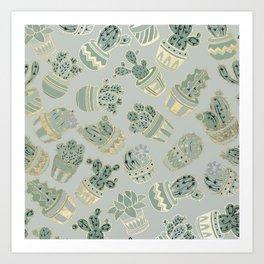 Mint green black faux gold cactus floral Art Print