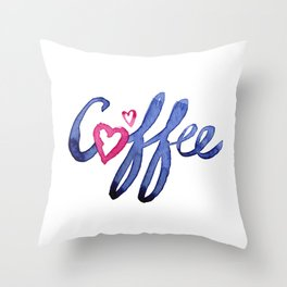 Coffee Lover Typography Throw Pillow
