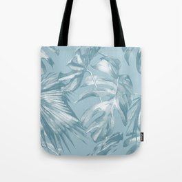 Island Dream Teal Palm Leaves Tote Bag