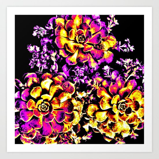 Purple Yellow Flower Plant, Pop Art Art Print