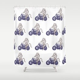 Tiger on a Motorcycle Shower Curtain