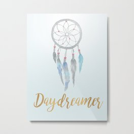 Daydreamer with Watercolor Dreamcatcher Metal Print