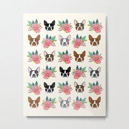 Boston Terrier florals cute terrier owner dog art pet portraits dog breeds boston terriers animal  Metal Print