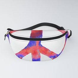 Patriotic Peace Sign Red White Blue Fanny Pack