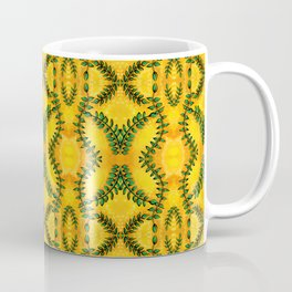 Nature Inspired Greenery - Leaves on Bright Yellow Coffee Mug