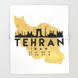 TEHRAN IRAN SILHOUETTE SKYLINE MAP ART Throw Blanket
