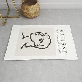 "Matisse Face Line Art - ""Nadia au cheveux lisse"", Henri Matisse Art Decor Rug"