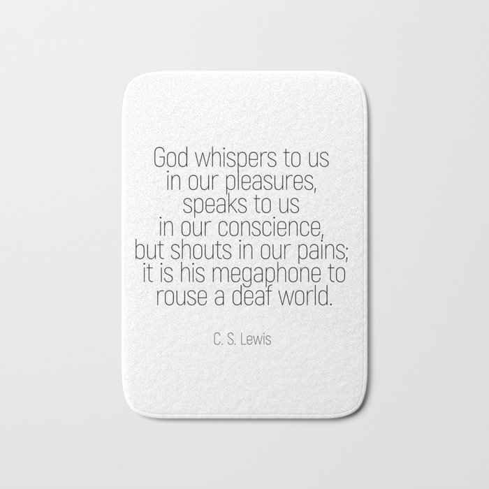 God whispers #quotes #cslewis #minimalism Bath Mat