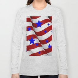 PATRIOTIC JULY 4TH BLUE STARS DECORATIVE ART Long Sleeve T-shirt